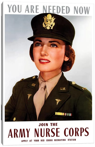 WWII Poster Of A Smiling Female Officer Of The US Army Medical Corps Canvas Art Print