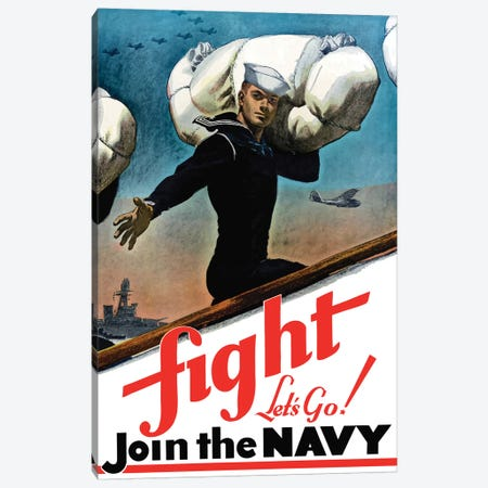 WWII Poster Of A United States Sailor Heading Off To War Canvas Print #TRK156} by John Parrot Canvas Artwork