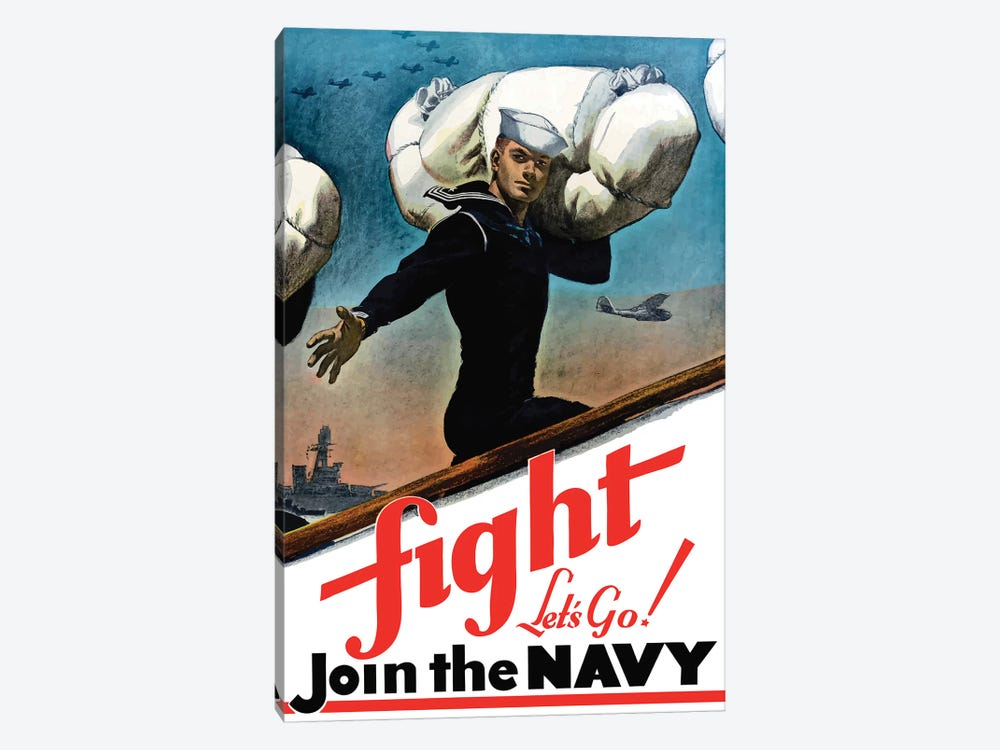 WWII Poster Of A United States Sailor Heading Off To War by John Parrot 1-piece Canvas Print