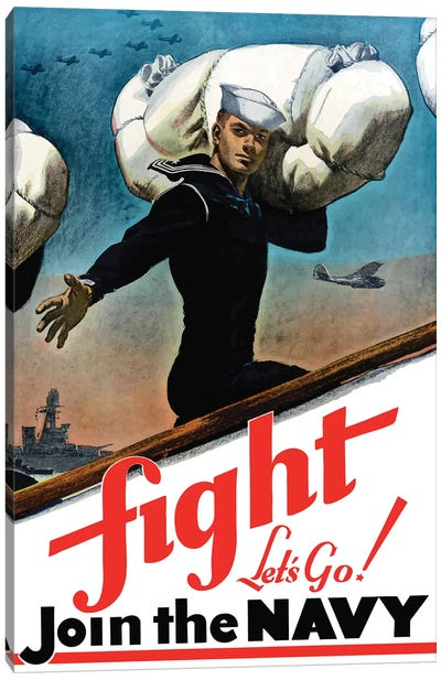 WWII Poster Of A United States Sailor Heading Off To War Canvas Art Print