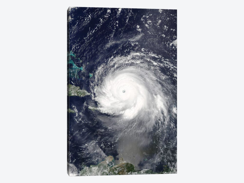Satellite View Of Hurricane Irma Over Puerto Rico And Hispaniola by Stocktrek Images 1-piece Canvas Art Print