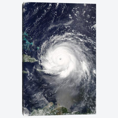 Satellite View Of Hurricane Irma Over Puerto Rico And Hispaniola Canvas Print #TRK1579} by Stocktrek Images Canvas Art
