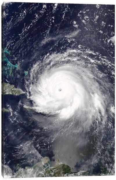 Satellite View Of Hurricane Irma Over Puerto Rico And Hispaniola Canvas Art Print