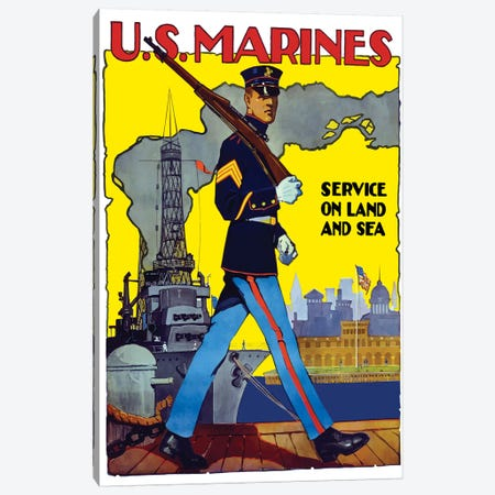 WWII Poster Of A US Marine Marching Along A Dock Canvas Print #TRK157} by John Parrot Canvas Artwork