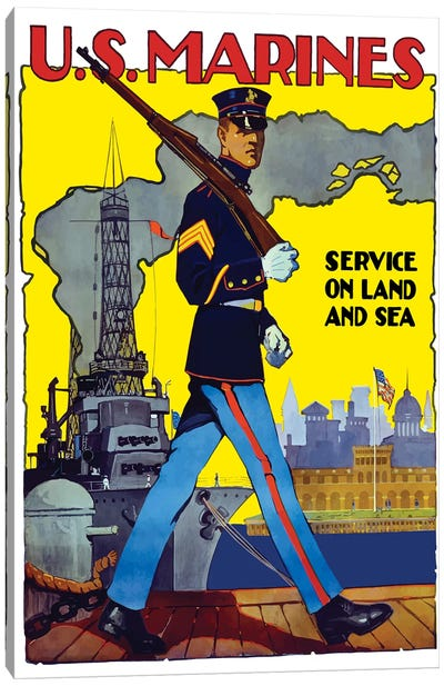 WWII Poster Of A US Marine Marching Along A Dock Canvas Art Print