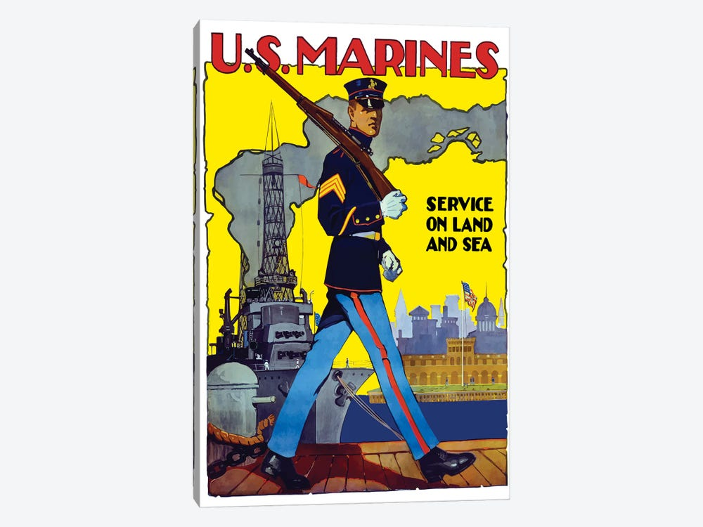 WWII Poster Of A US Marine Marching Along A Dock by John Parrot 1-piece Canvas Art