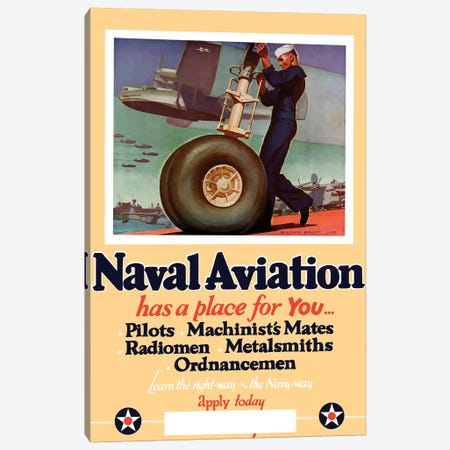 WWII Poster Of A US Navy Seaman Working On The Landing Gear Of A Plane Canvas Print #TRK158} by John Parrot Canvas Print