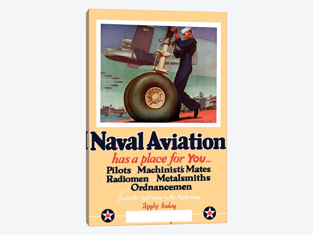WWII Poster Of A US Navy Seaman Working On The Landing Gear Of A Plane by John Parrot 1-piece Art Print