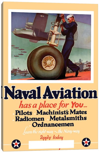 WWII Poster Of A US Navy Seaman Working On The Landing Gear Of A Plane Canvas Art Print