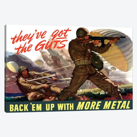 WWII Poster Of Airborne Troops Parachuting Into Battle I Canvas Print #TRK159} by John Parrot Canvas Print