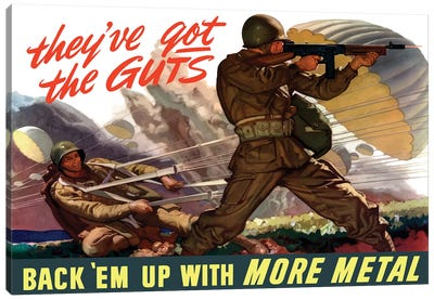 WWII Poster Of Airborne Troops Parachuting Into Battle I Canvas Art Print