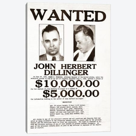 John Dillinger Wanted Poster Canvas Print #TRK15} by John Parrot Canvas Artwork