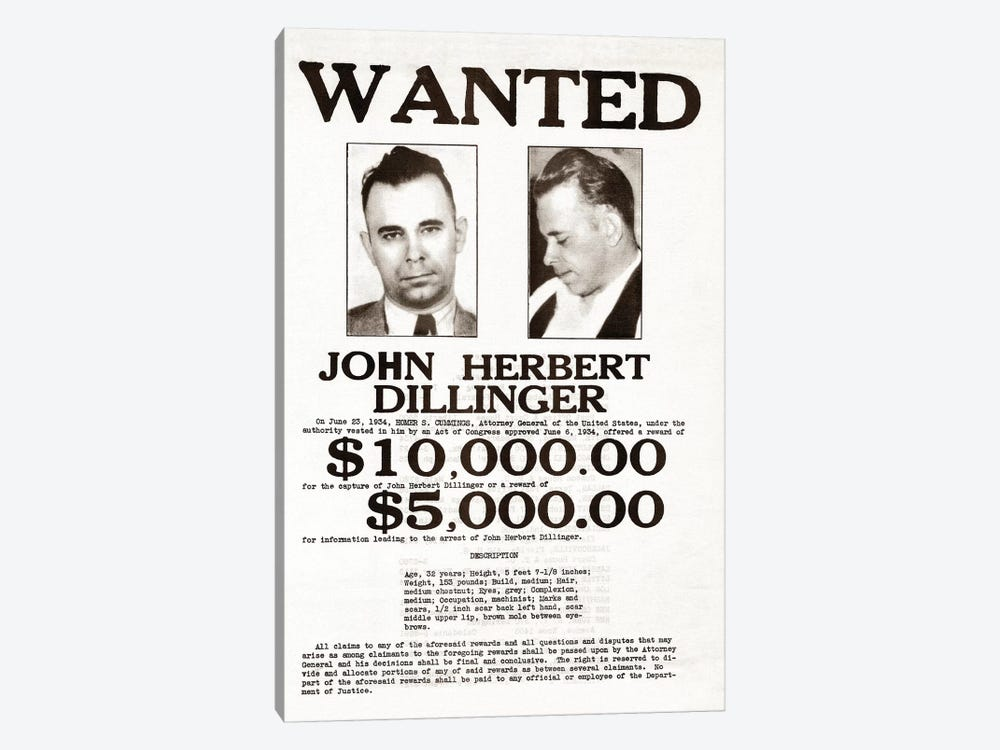 John Dillinger Wanted Poster by John Parrot 1-piece Canvas Art Print