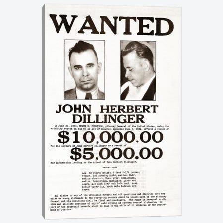 John Dillinger Wanted Poster Canvas Print #TRK15} by John Parrot Canvas Artwork