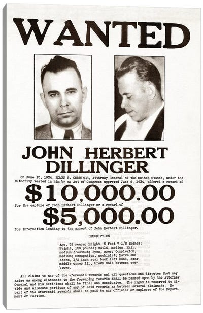 John Dillinger Wanted Poster Canvas Art Print