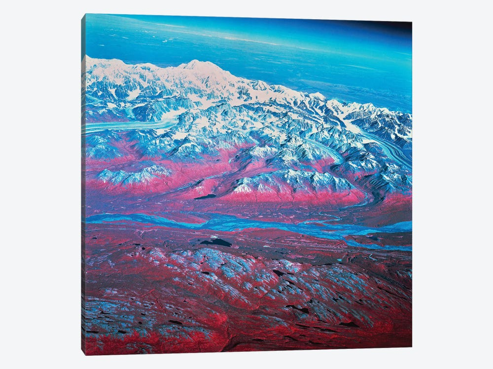Satellite View Of Mount McKinley, Alaska by Stocktrek Images 1-piece Canvas Art Print
