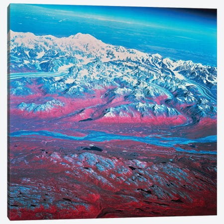 Satellite View Of Mount McKinley, Alaska 3-Piece Canvas #TRK1600} by Stocktrek Images Canvas Artwork