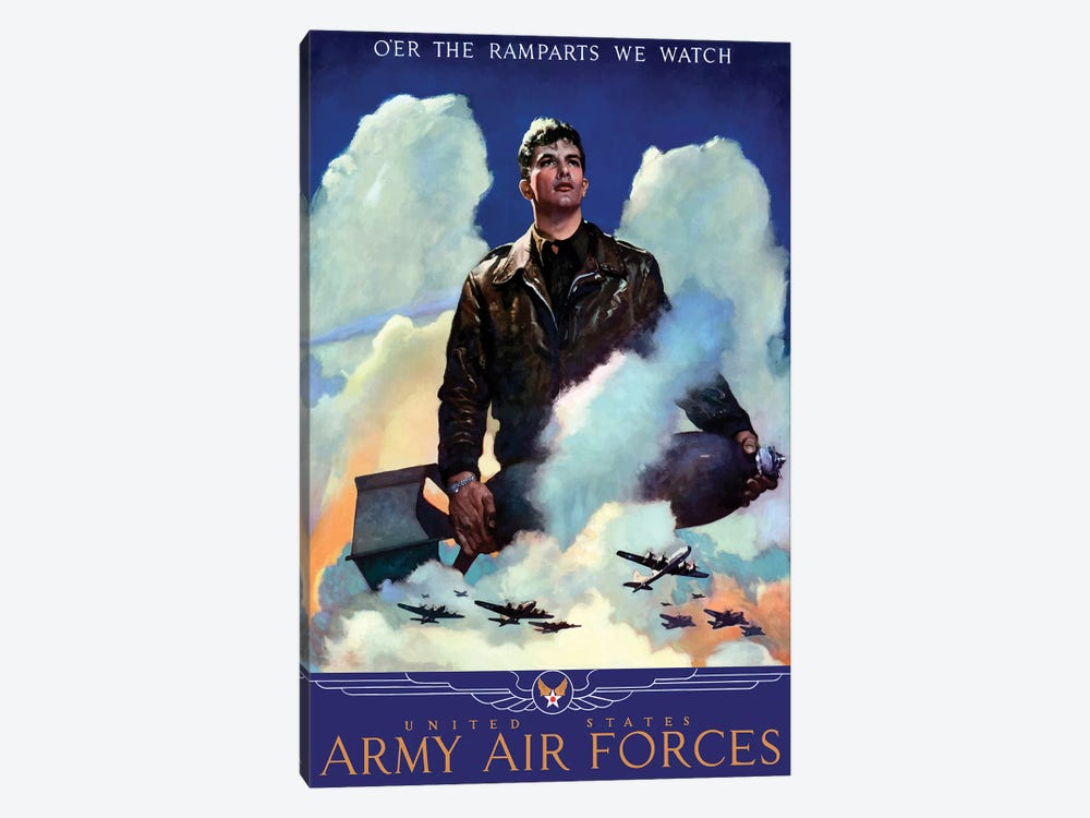 WWII Poster Of An American Air Force Pilot Staring Into The Clouds by John Parrot 1-piece Canvas Print