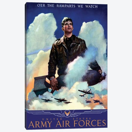 WWII Poster Of An American Air Force Pilot Staring Into The Clouds Canvas Print #TRK161} by John Parrot Canvas Artwork