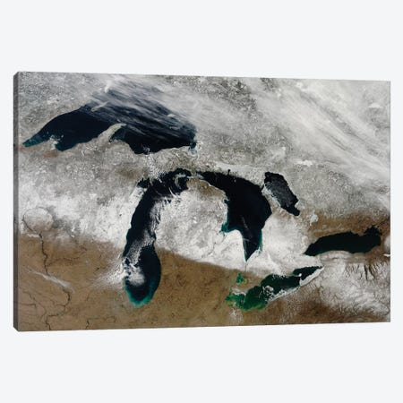 Satellite View Of Snow Across Wisconsin, Michigan, And Canada Canvas Print #TRK1627} by Stocktrek Images Canvas Print