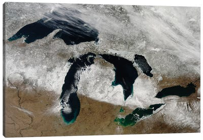 Satellite View Of Snow Across Wisconsin, Michigan, And Canada Canvas Art Print