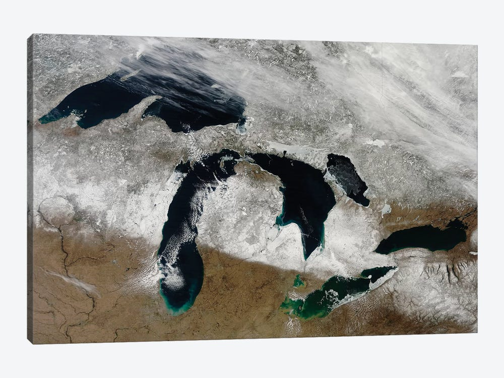 Satellite View Of Snow Across Wisconsin, Michigan, And Canada by Stocktrek Images 1-piece Canvas Wall Art