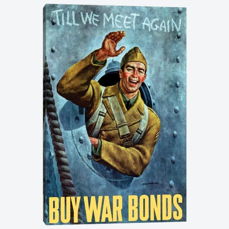 WWII Poster Of An American Soldier Waving From The Porthole Of A Ship Canvas Print #TRK162} by John Parrot Canvas Art