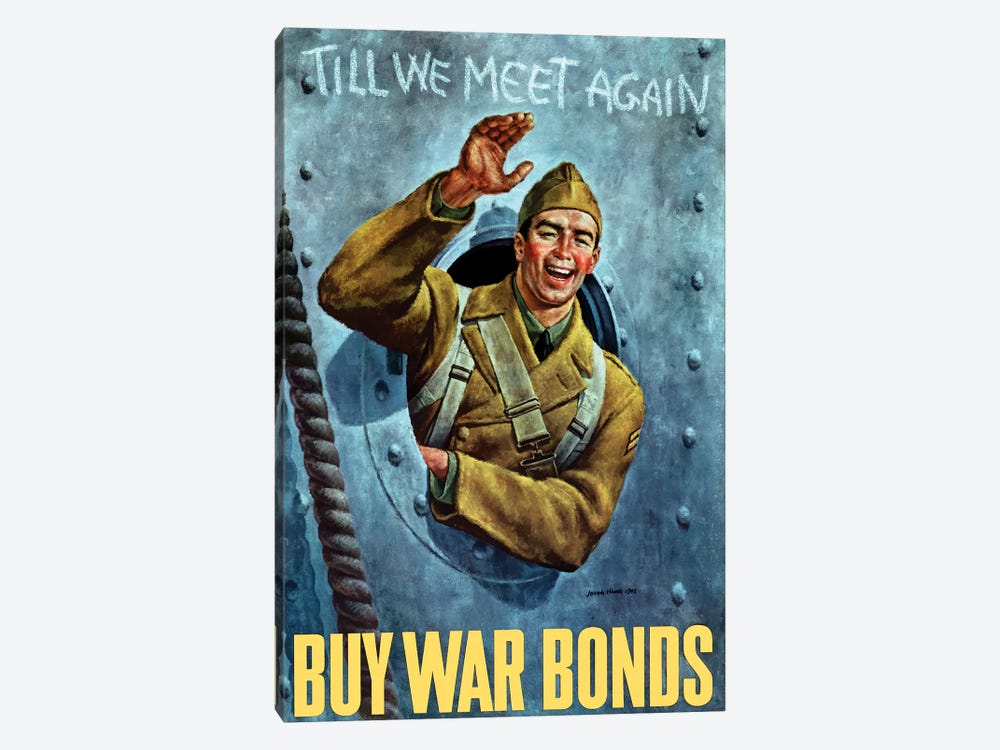 WWII Poster Of An American Soldier Waving From The Porthole Of A Ship by John Parrot 1-piece Canvas Artwork