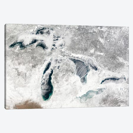 Satellite View Of The Great Lakes, USA I Canvas Print #TRK1633} by Stocktrek Images Canvas Art Print