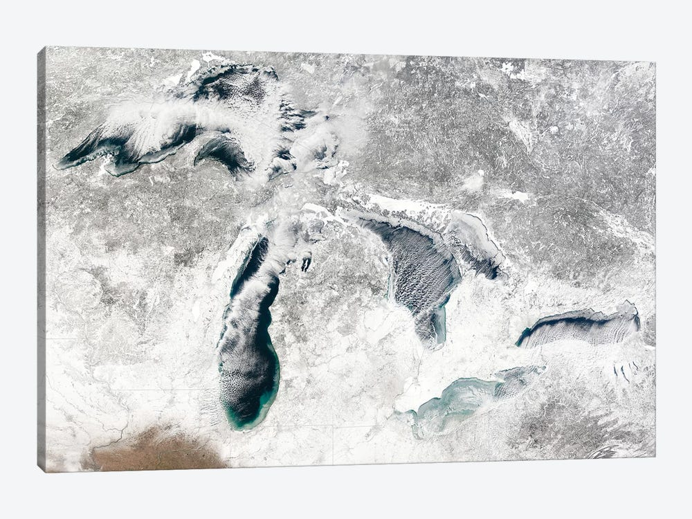Satellite View Of The Great Lakes, USA I by Stocktrek Images 1-piece Canvas Print