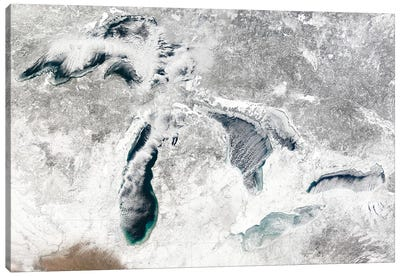 Satellite View Of The Great Lakes, USA I Canvas Art Print