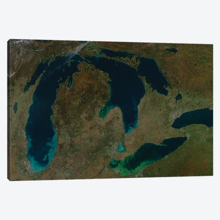Satellite View Of The Great Lakes, USA II Canvas Print #TRK1634} by Stocktrek Images Canvas Wall Art