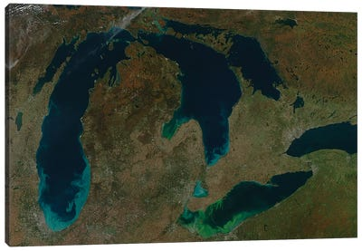 Satellite View Of The Great Lakes, USA II Canvas Art Print