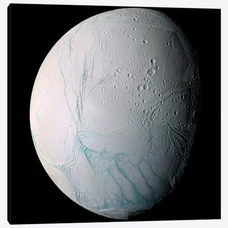 Saturn's Moon Enceladus I Canvas Print #TRK1644} by Stocktrek Images Canvas Art Print