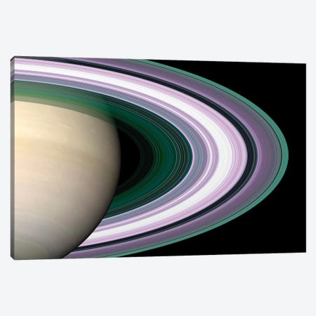 Saturn's Rings Canvas Print #TRK1647} by Stocktrek Images Canvas Art Print