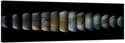 Sequence Of 14 Color Enhanced Images Of Planet Jupiter Taken From The Juno Spacecraft Canvas Art Print