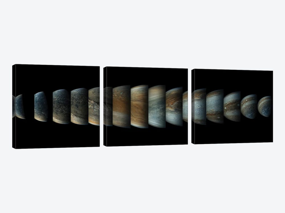 Sequence Of 14 Color Enhanced Images Of Planet Jupiter Taken From The Juno Spacecraft by Stocktrek Images 3-piece Canvas Art Print