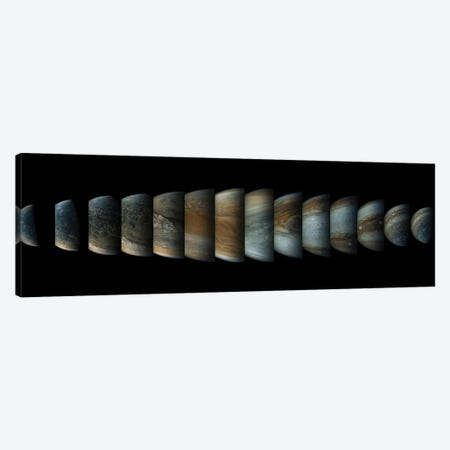 Sequence Of 14 Color Enhanced Images Of Planet Jupiter Taken From The Juno Spacecraft Canvas Print #TRK1648} by Stocktrek Images Canvas Wall Art