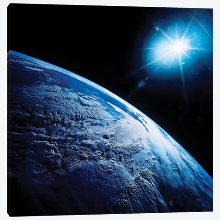 Shining Star Over Earth Canvas Print #TRK1649} by Stocktrek Images Canvas Wall Art