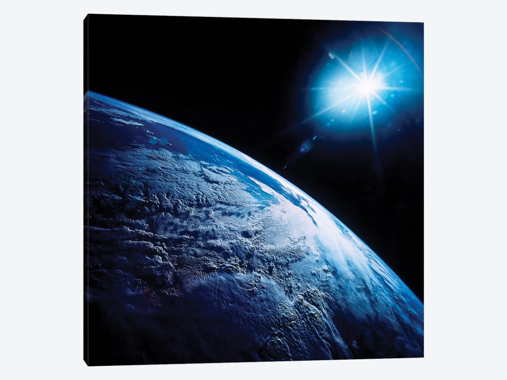Shining Star Over Earth by Stocktrek Images 1-piece Canvas Art