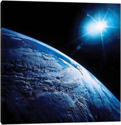 Shining Star Over Earth Canvas Art Print