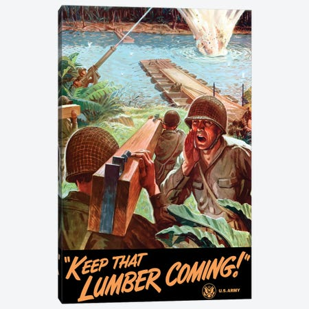WWII Poster Of Army Engineers Building A Bridge Across A River Canvas Print #TRK164} by John Parrot Canvas Print