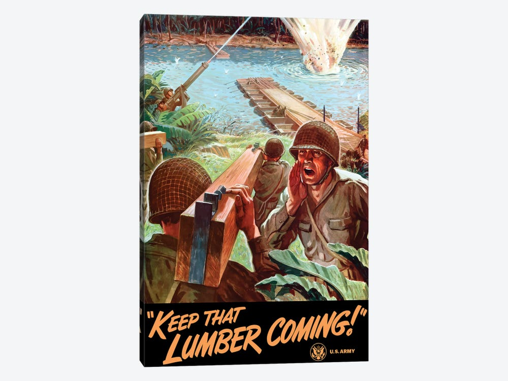 WWII Poster Of Army Engineers Building A Bridge Across A River by John Parrot 1-piece Canvas Wall Art