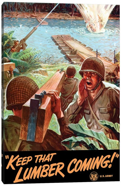 WWII Poster Of Army Engineers Building A Bridge Across A River Canvas Art Print