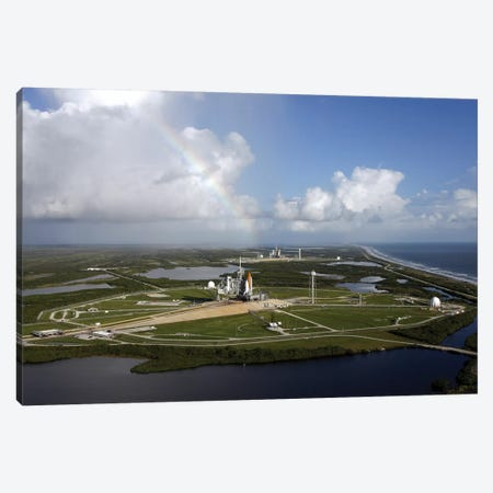 Space Shuttle Atlantis And Endeavour Sit On Their Launch Pads At Kennedy Space Center Canvas Print #TRK1658} by Stocktrek Images Art Print