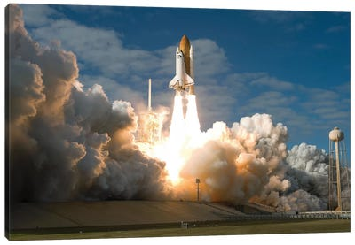 Space Shuttle Atlantis Lifts Off From Its Launch Pad At Kennedy Space Center, Florida II Canvas Art Print