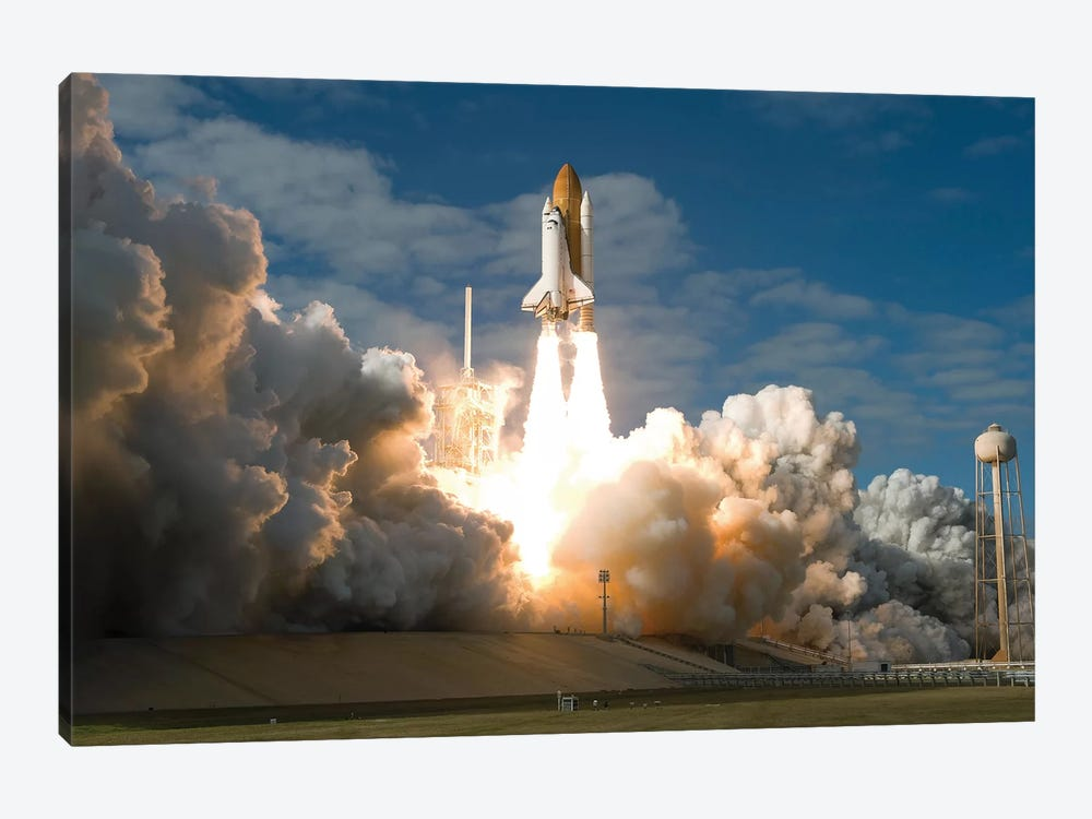 Space Shuttle Atlantis Lifts Off From Its Launch Pad At Kennedy Space Center, Florida II by Stocktrek Images 1-piece Canvas Artwork