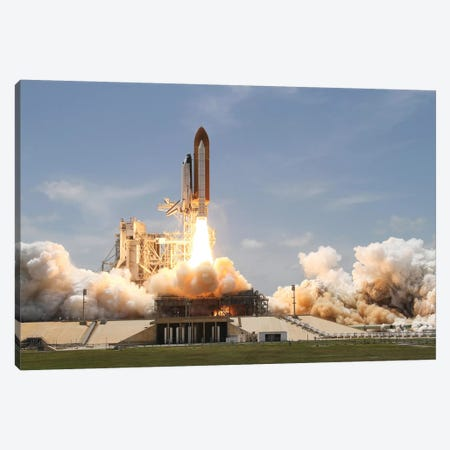 Space Shuttle Atlantis Lifts Off From Its Launch Pad At Kennedy Space Center, Florida VIII Canvas Print #TRK1667} by Stocktrek Images Canvas Print
