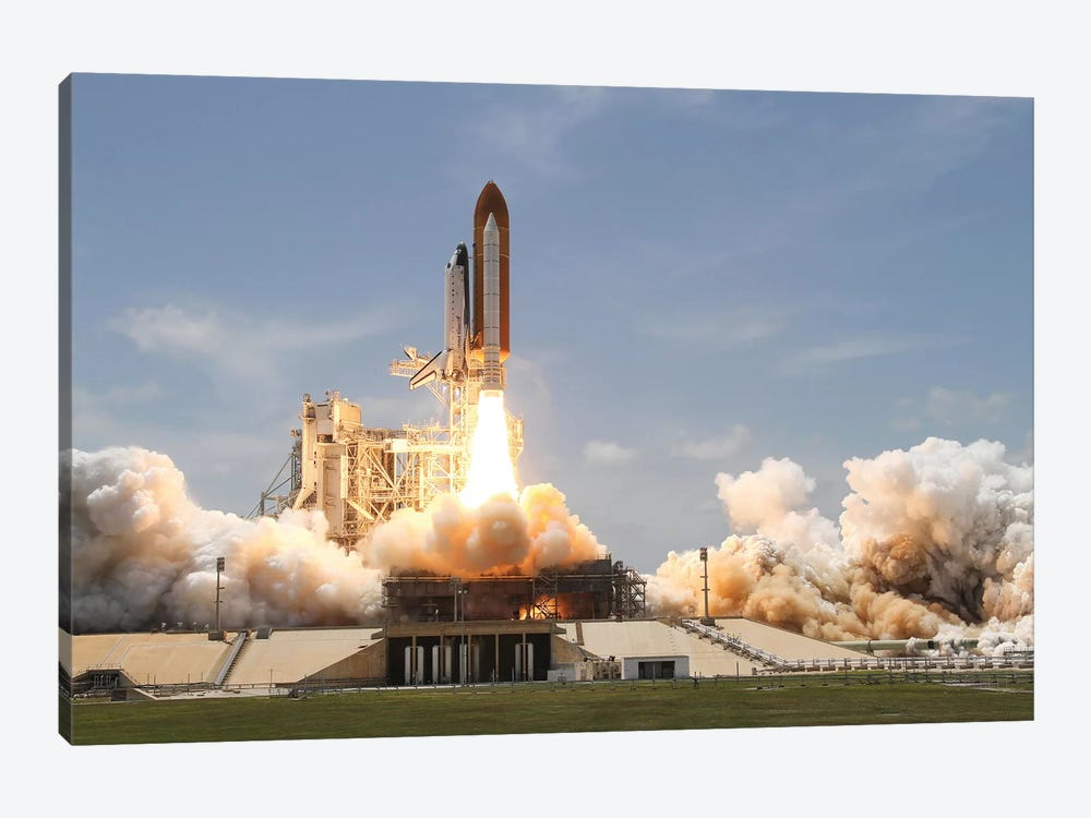Space Shuttle Atlantis Lifts Off From Its Launch Pad At Kennedy Space Center, Florida VIII by Stocktrek Images 1-piece Canvas Wall Art