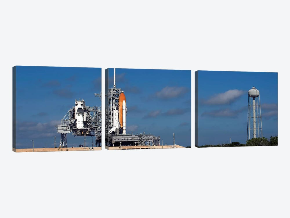 Space Shuttle Discovery Sits Ready On The Launch Pad At Kennedy Space Center by Stocktrek Images 3-piece Canvas Artwork